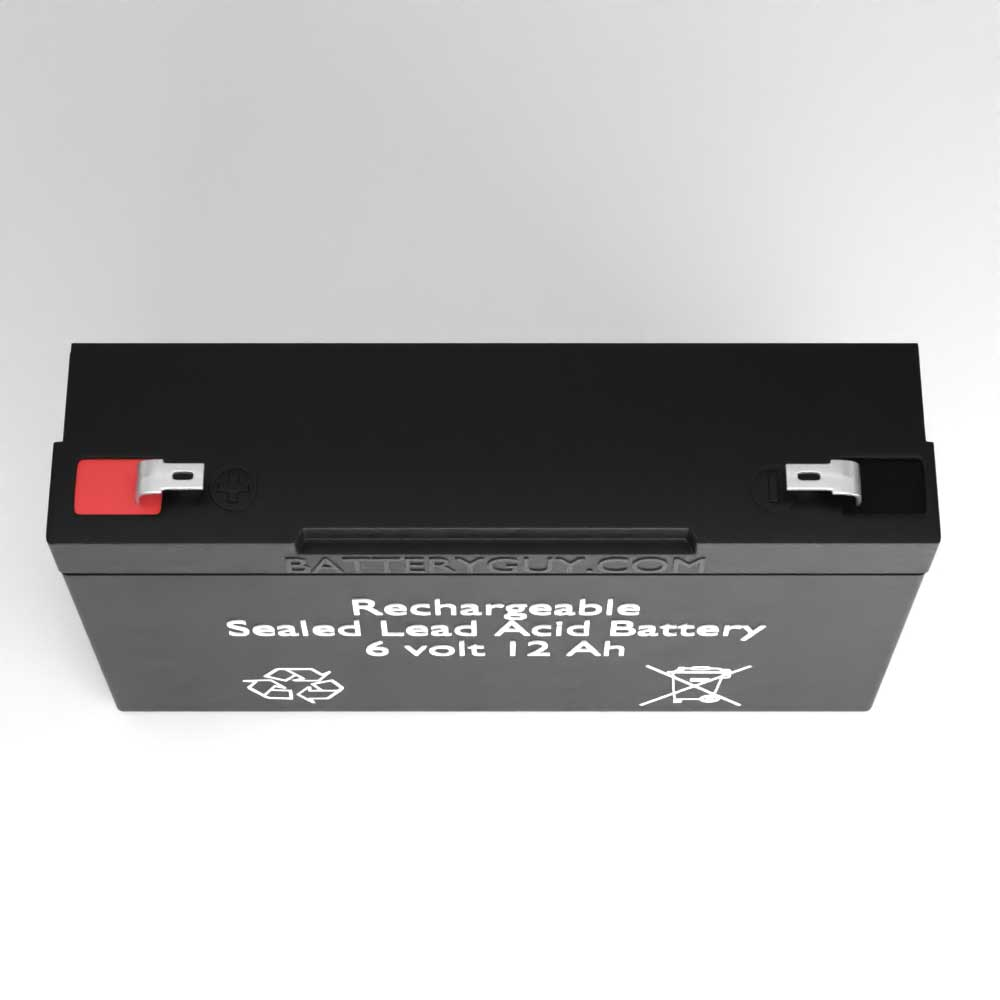 Top View - 6v 12Ah Rechargeable Sealed Lead Acid (Rechargeable SLA) Battery