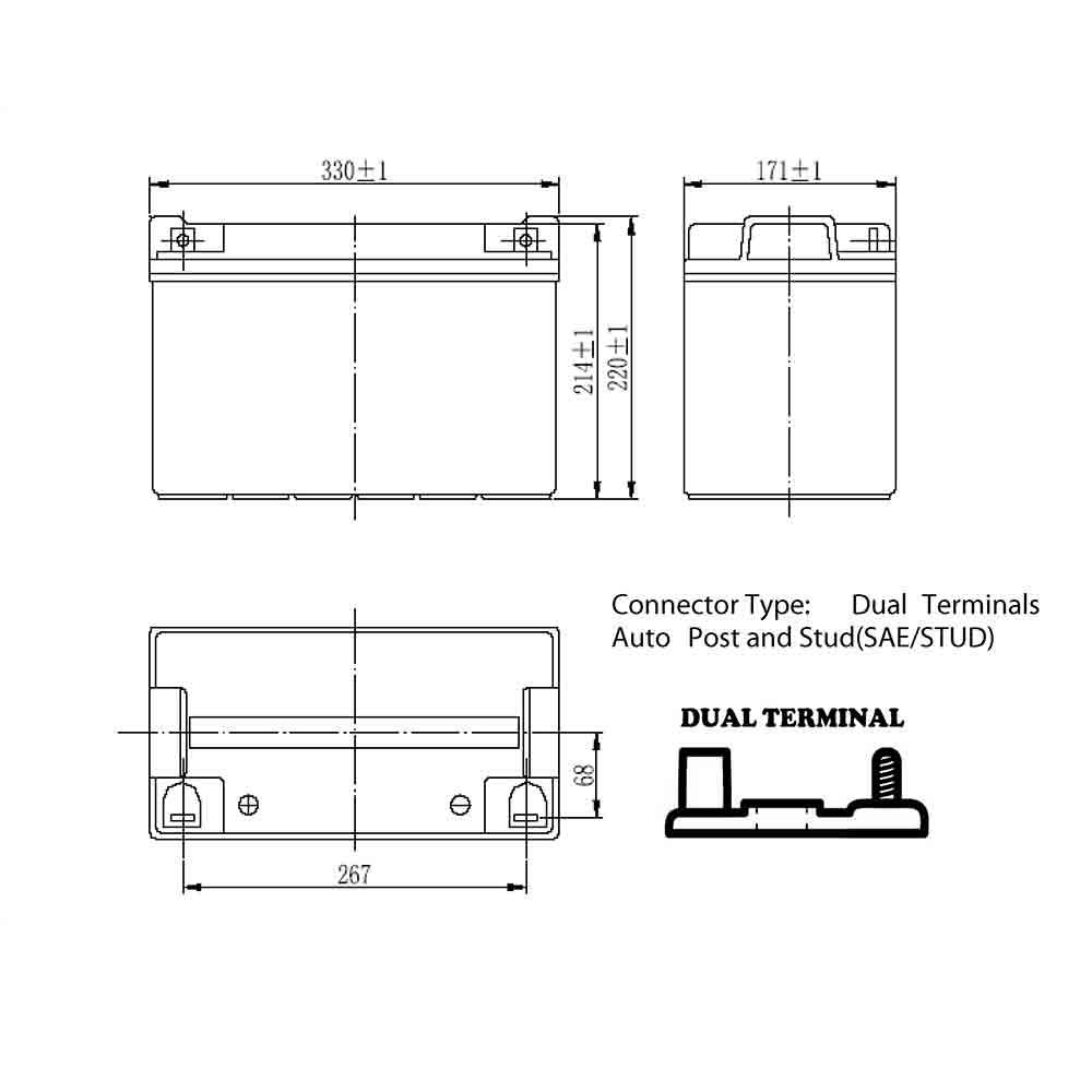 12v 100Ah Deep Cycle Gel Battery Dimensions