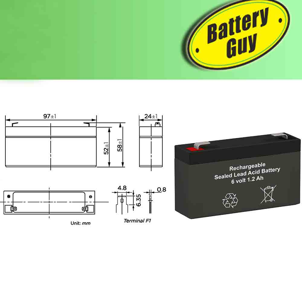 6v 1.2Ah Rechargeable Sealed Lead Acid (Rechargeable SLA) Battery - Dimensions