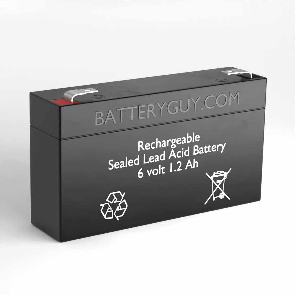 6v 1.2Ah Rechargeable Sealed Lead Acid Battery - Left View
