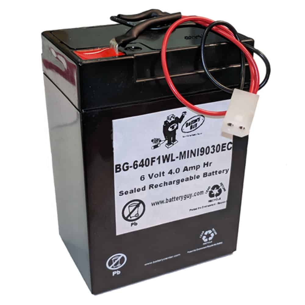6v 4.0Ah Rechargeable Sealed Lead Acid Battery with Wire Leads and MINI9030EC Connector   BG-640