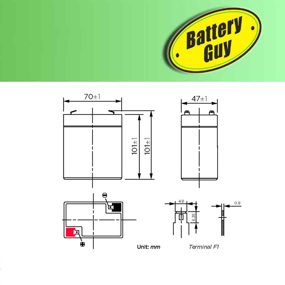 Dimensions - 6v 4.0Ah Rechargeable Sealed Lead Acid Battery with Wire Leads