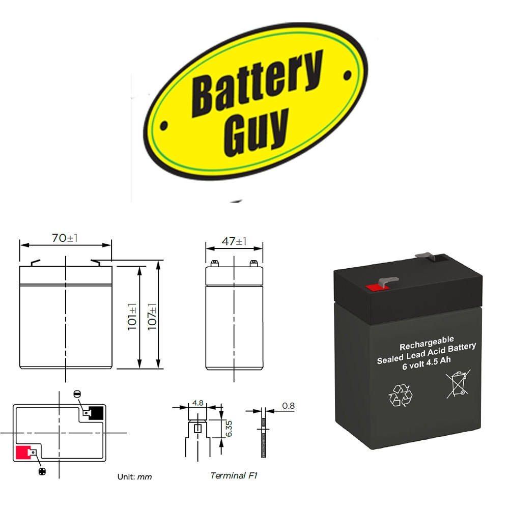Dimensions - 6v 4.5Ah Rechargeable Sealed Lead Acid (Rechargeable SLA) Battery