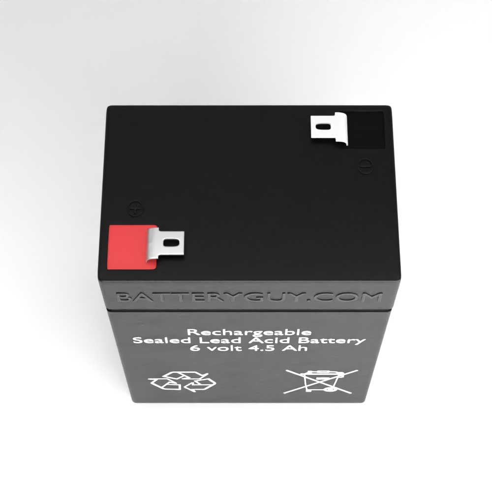 Top View - 6v 4.5Ah Rechargeable Sealed Lead Acid (Rechargeable SLA) Battery
