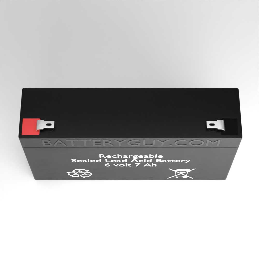 Top View - 6v 7Ah Rechargeable Sealed Lead Acid (Rechargeable SLA) Battery