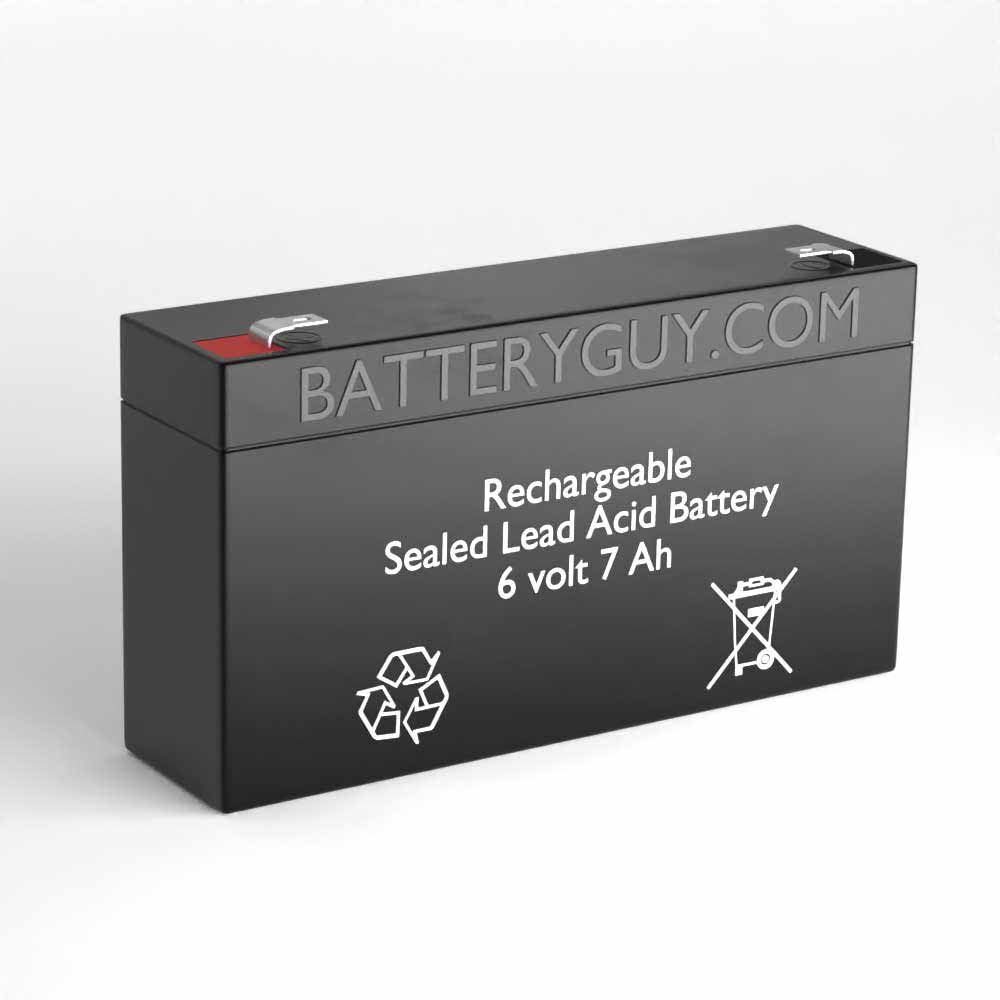 Left View - 6v 7Ah Rechargeable Sealed Lead Acid (Rechargeable SLA) Battery