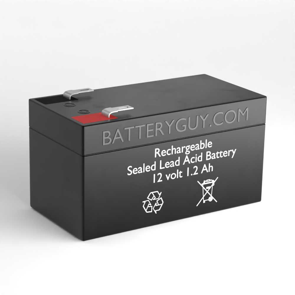 Left View - 12v 1.2Ah Rechargeable Sealed Lead Acid Battery