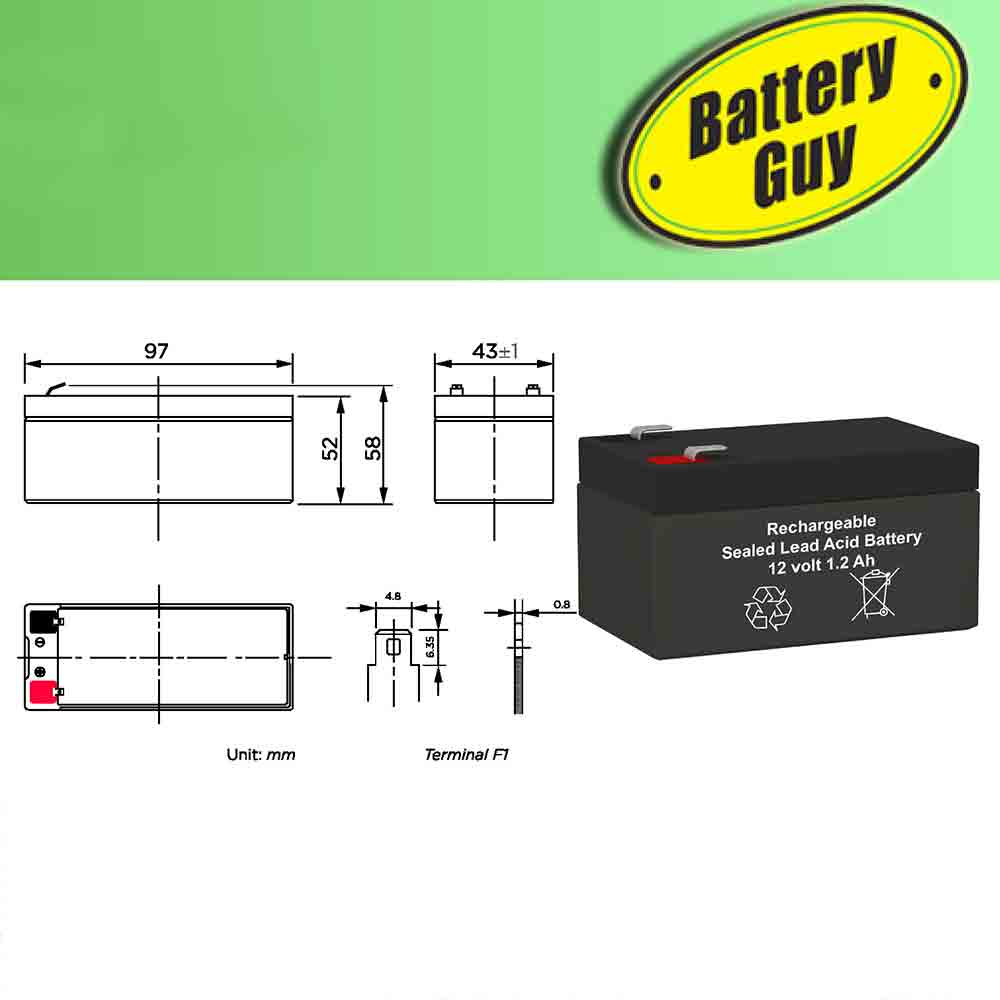 Dimensions - 12v 1.2Ah Rechargeable Sealed Lead Acid Battery - F1 Faston Terminals