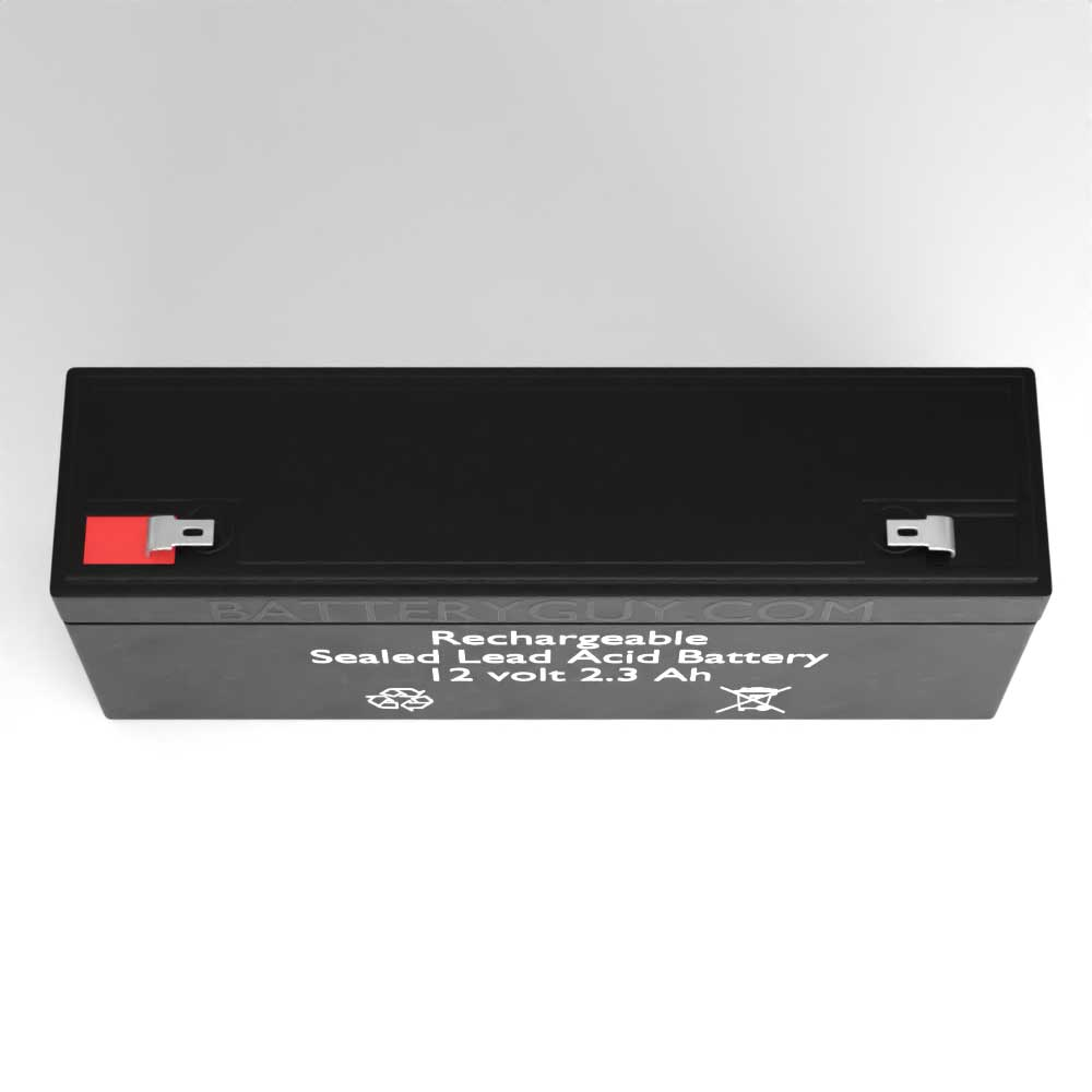 Top View - 12v 2.3Ah Rechargeable Sealed Lead Acid (Rechargeable SLA) Battery