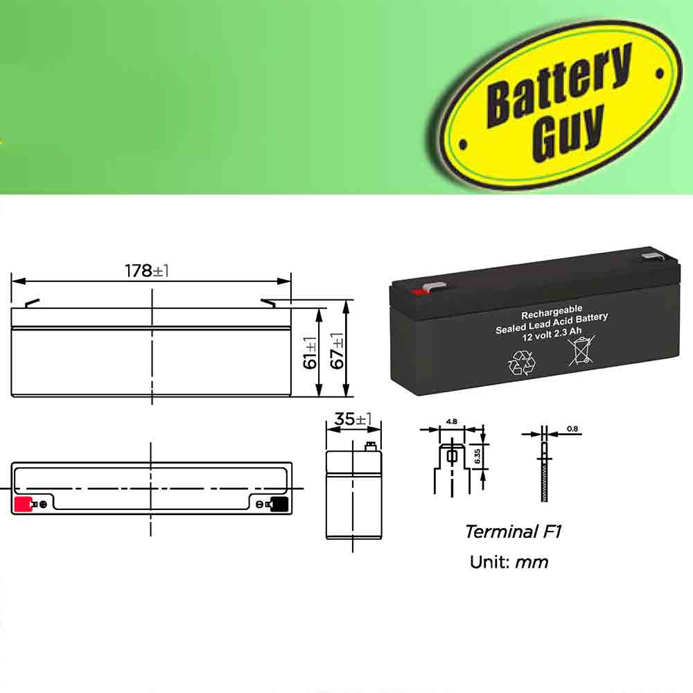 Dimensions - 12v 2.3Ah Rechargeable Sealed Lead Acid (Rechargeable SLA) Battery