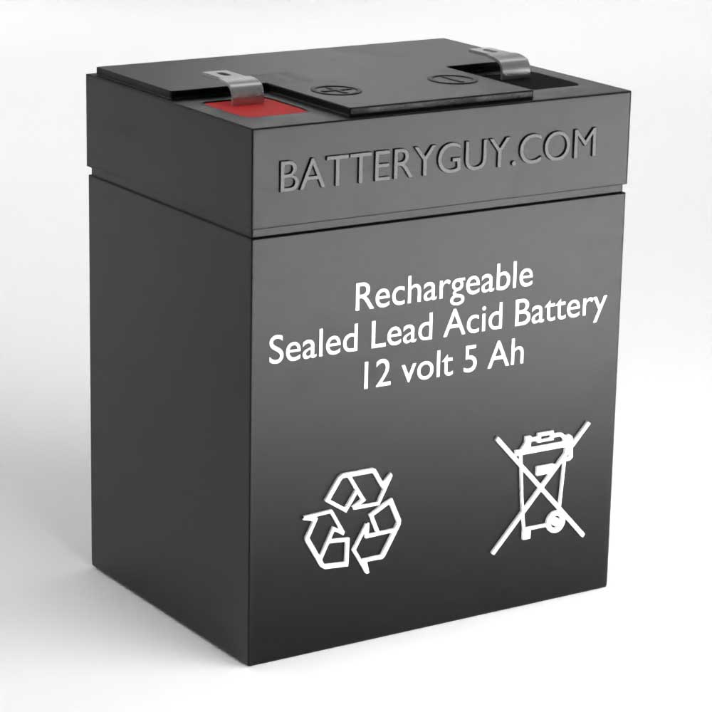 Left View - 12v 5Ah Rechargeable Sealed Lead Acid (Rechargeable SLA) Battery