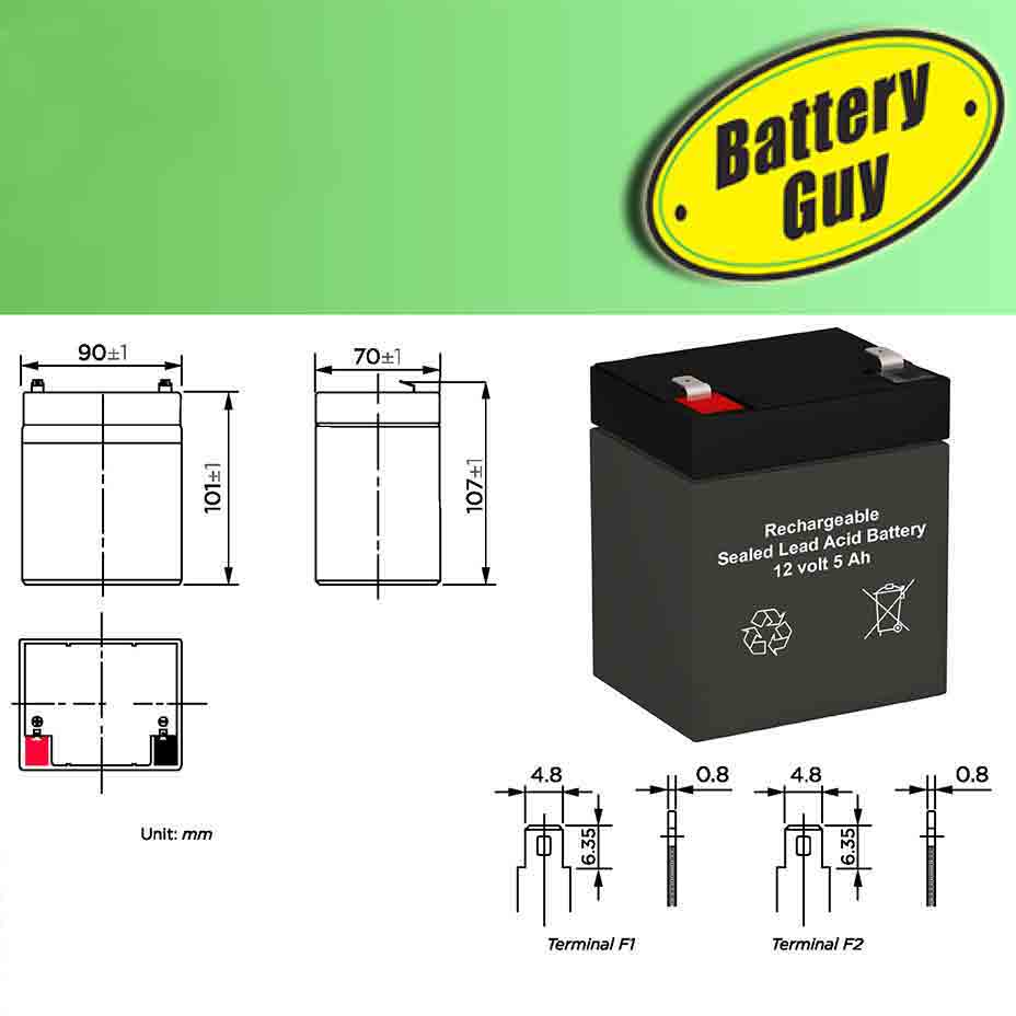 Dimensions - 12v 5Ah Rechargeable Sealed Lead Acid (Rechargeable SLA) Battery
