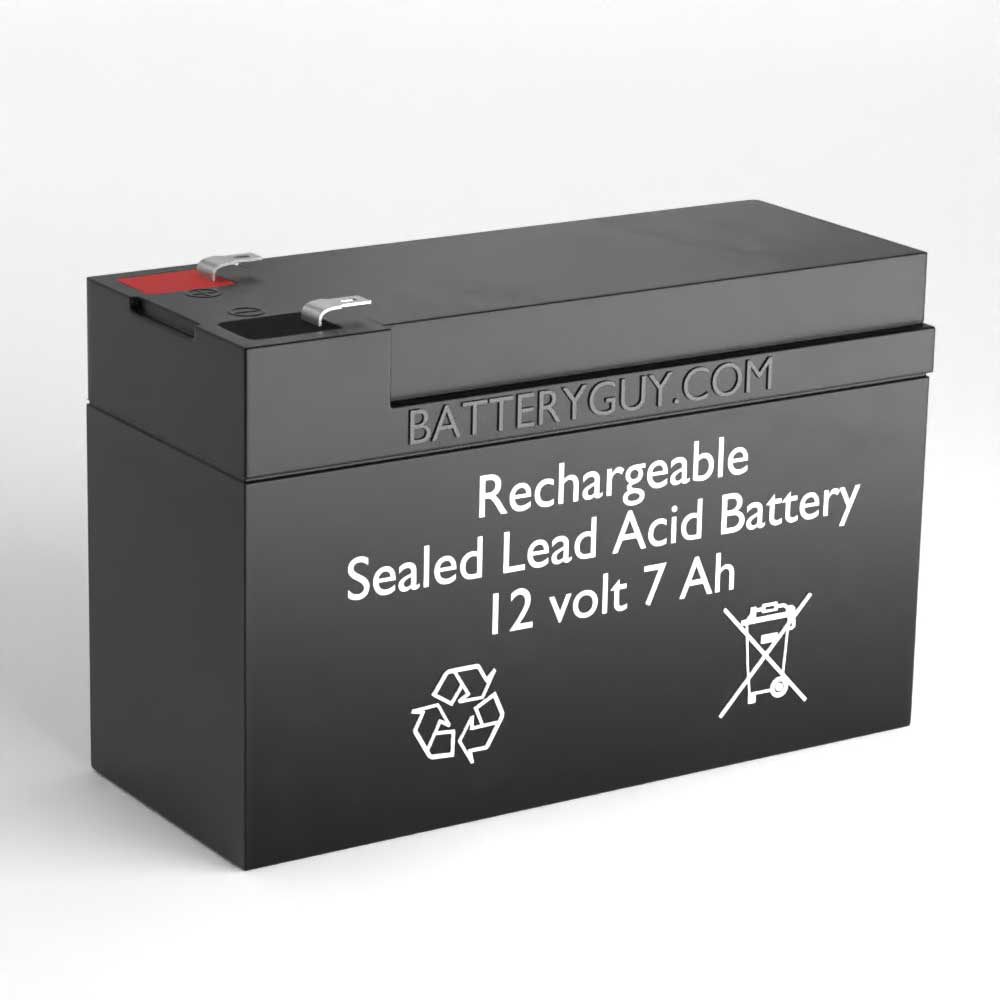 Left View - F1 Faston 12v 7Ah Rechargeable Sealed Lead Acid (Rechargeable SLA) Battery