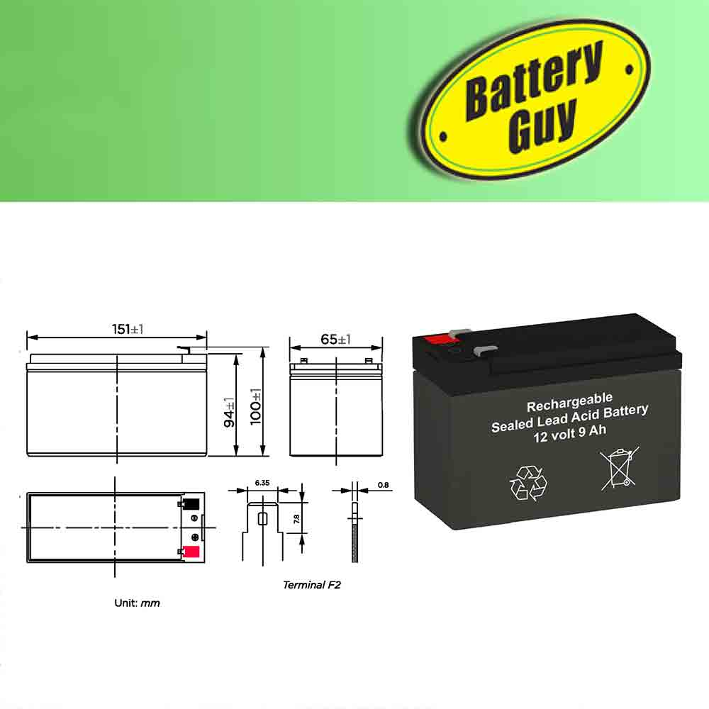 Dimensions - 12v 9Ah Rechargeable Sealed Lead Acid Battery