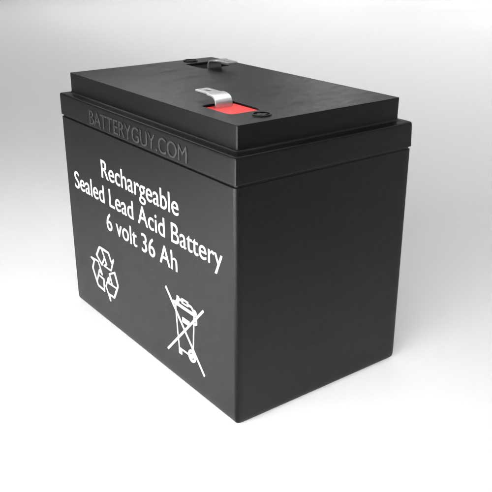 Right View - 6v 36Ah Rechargeable Sealed Lead Acid (Rechargeable SLA) Battery
