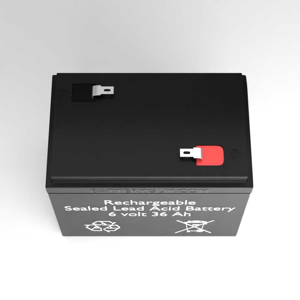 Top View - 6v 36Ah Rechargeable Sealed Lead Acid (Rechargeable SLA) Battery