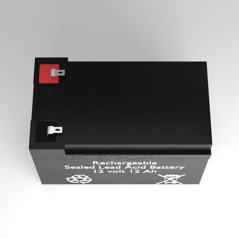 Top View - 12v 12Ah Rechargeable Sealed Lead Acid (Rechargeable SLA) Battery