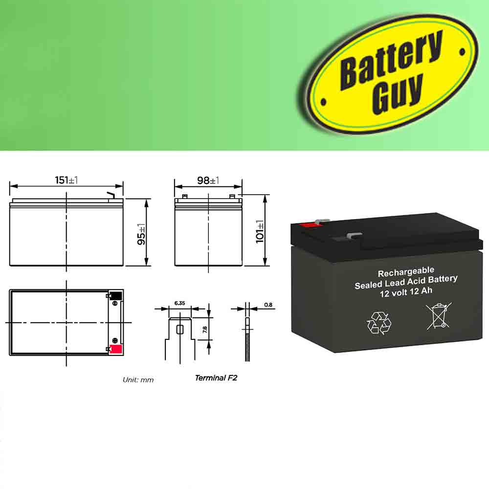 Product Dimensions - 12v 12Ah Rechargeable Sealed Lead Acid (Rechargeable SLA) Battery