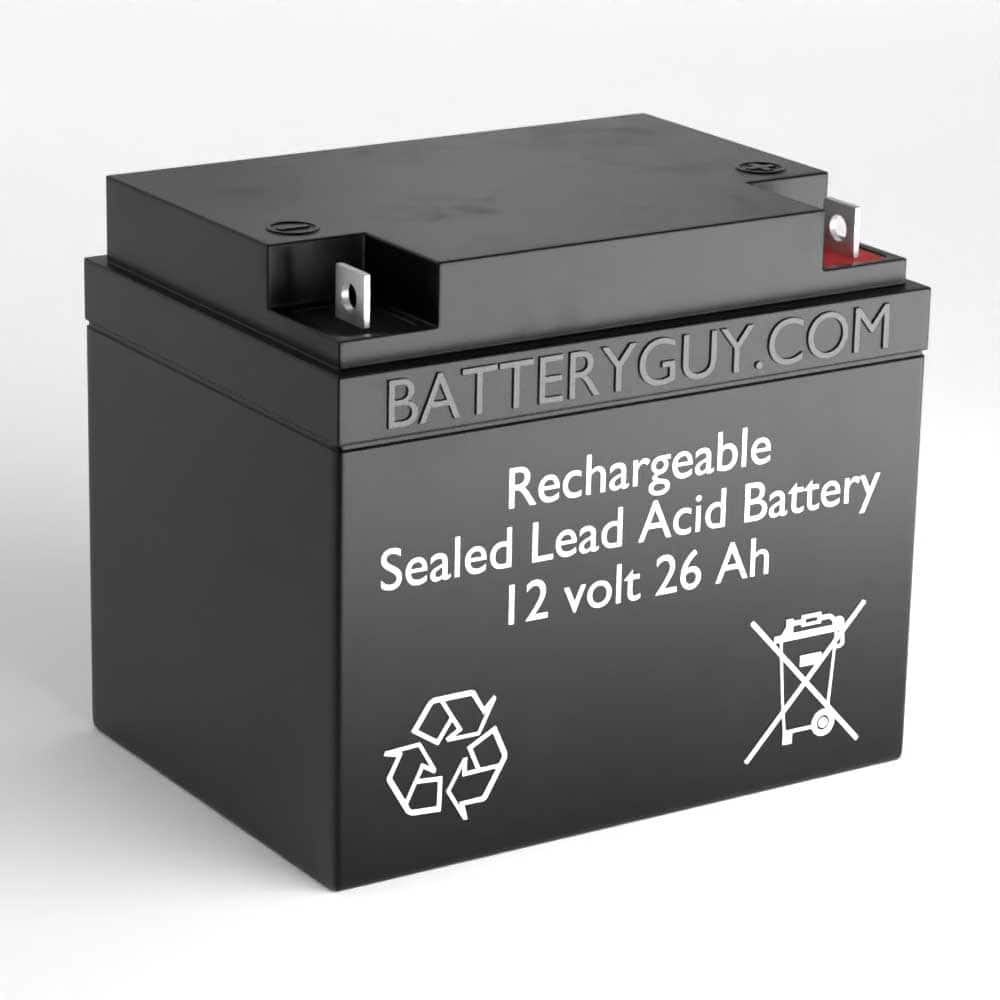 Left View - 12v 26Ah Rechargeable Sealed Lead Acid (Rechargeable SLA) Battery