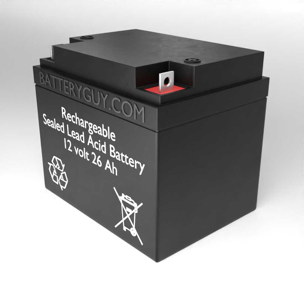 Right View - 12v 26Ah Rechargeable Sealed Lead Acid (Rechargeable SLA) Battery