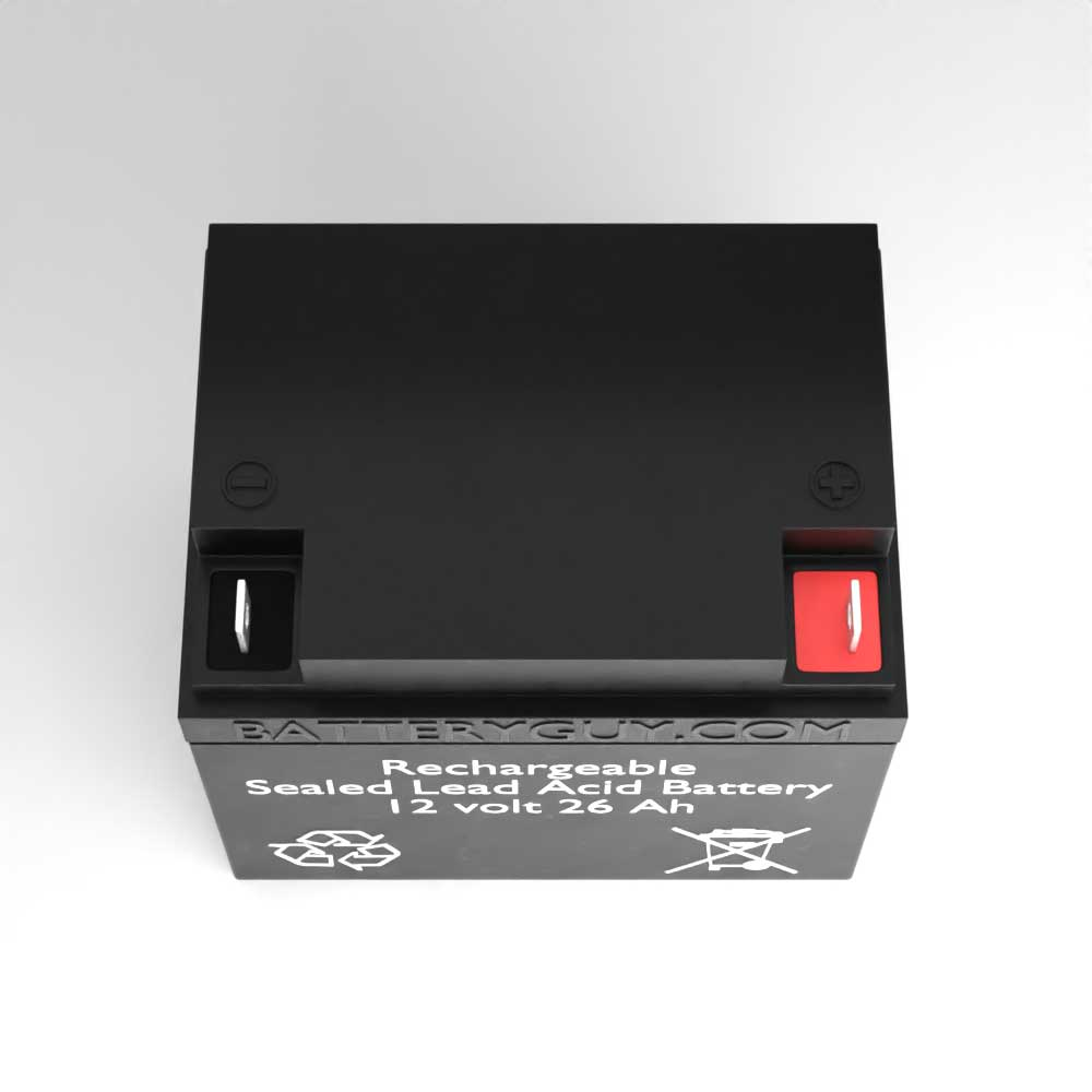 Top View - 12v 26Ah Rechargeable Sealed Lead Acid (Rechargeable SLA) Battery