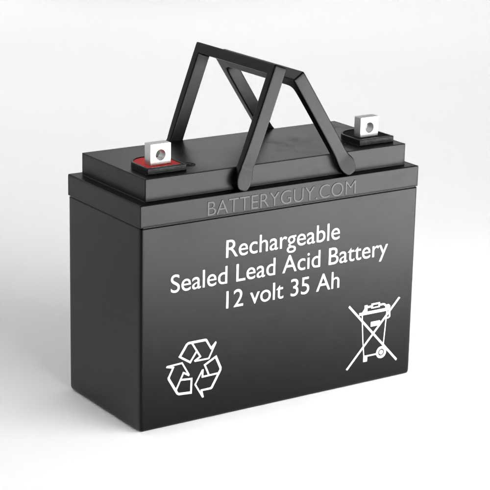 Left View - 12v 35Ah Rechargeable Sealed Lead Acid (Rechargeable SLA) Battery