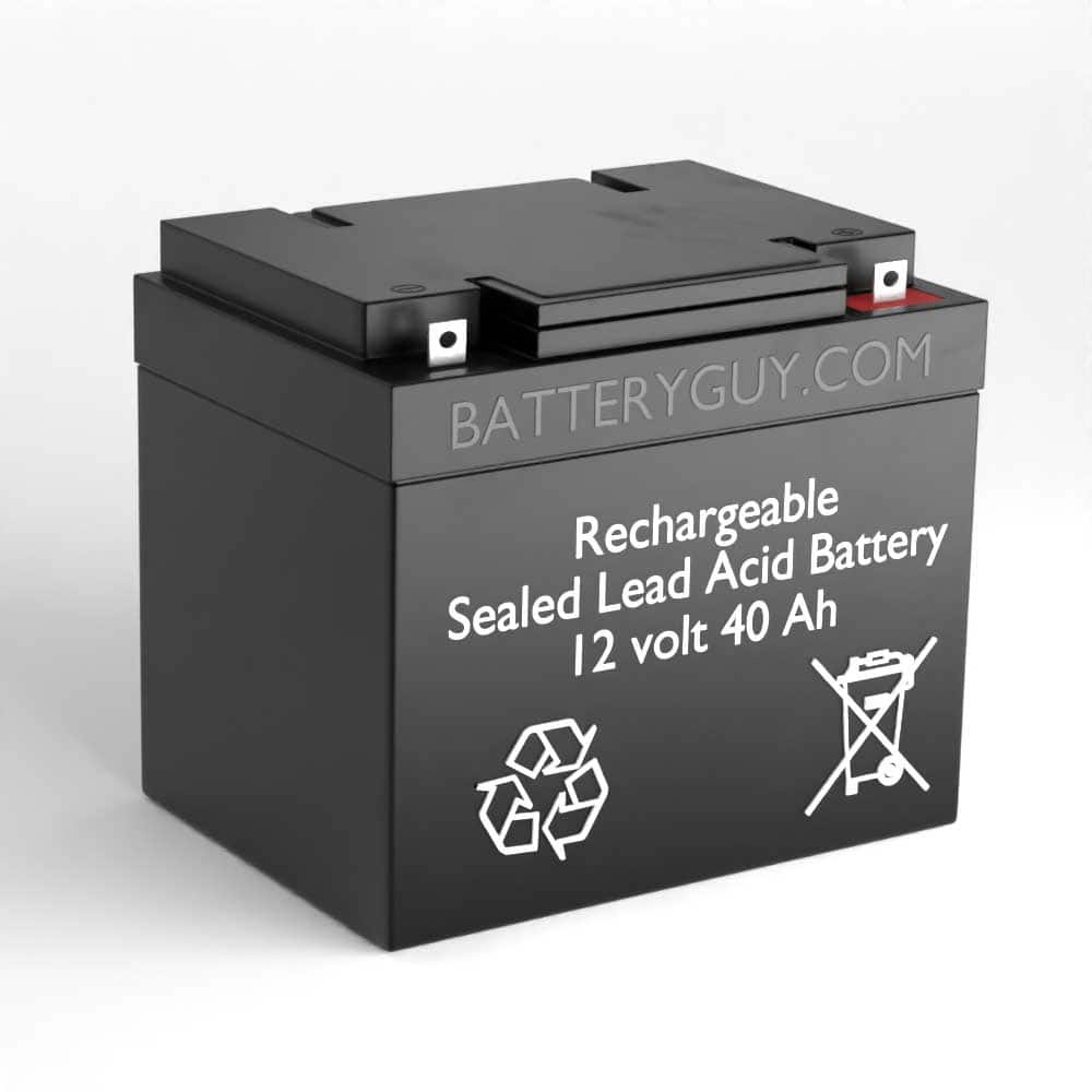 Left View - 12v 40Ah Rechargeable Sealed Lead Acid (Rechargeable SLA) Battery