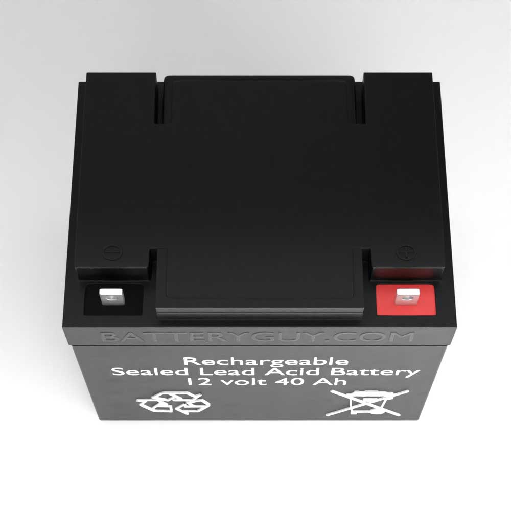 Top View - 12v 40Ah Rechargeable Sealed Lead Acid (Rechargeable SLA) Battery