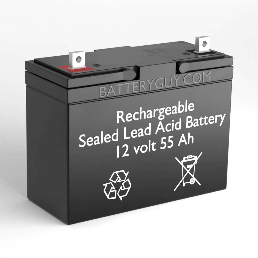 Left View - 12v 55Ah Rechargeable Sealed Lead Acid (Rechargeable SLA) Battery