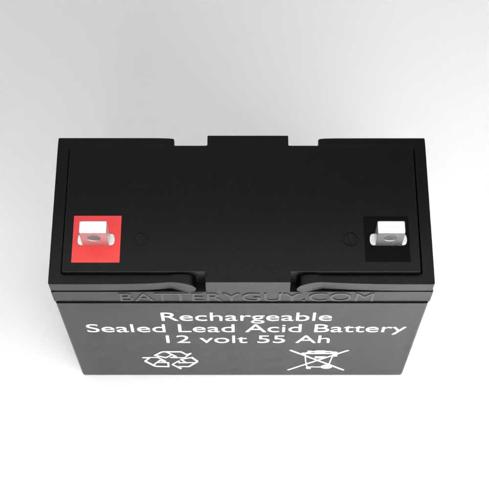 Top View - 12v 55Ah Rechargeable Sealed Lead Acid (Rechargeable SLA) Battery