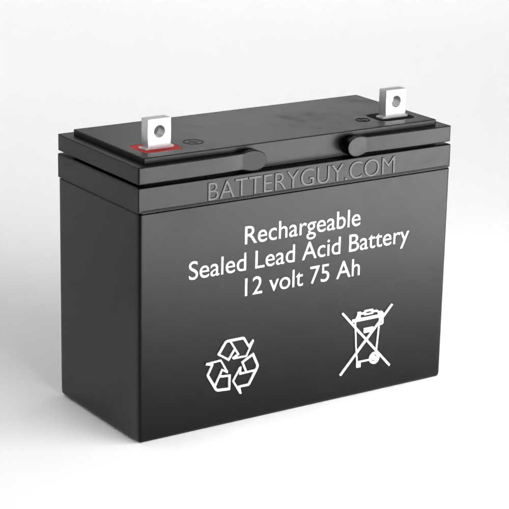 Left View - 12v 75Ah Rechargeable Sealed Lead Acid (Rechargeable SLA) Battery