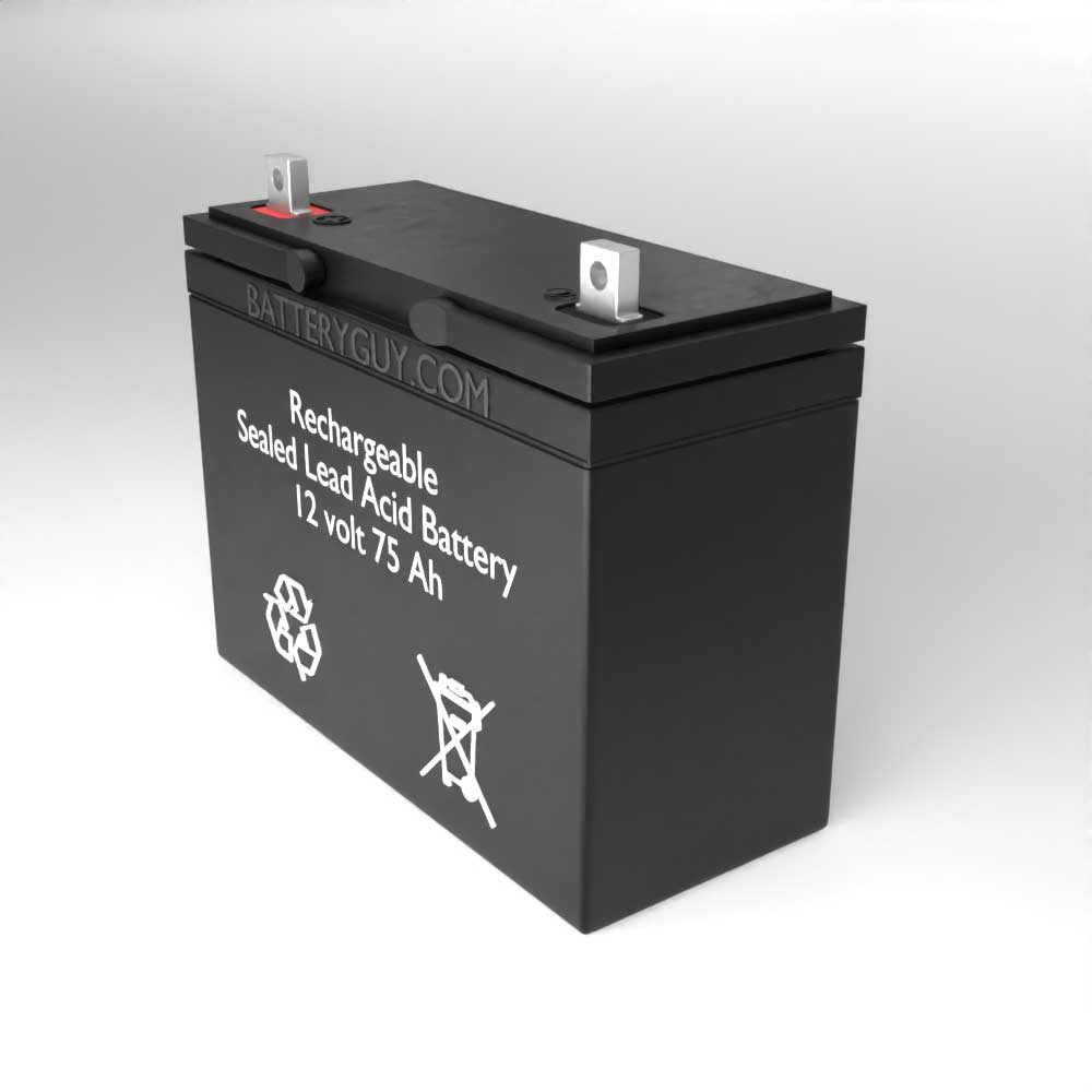Right View - 12v 75Ah Rechargeable Sealed Lead Acid (Rechargeable SLA) Battery