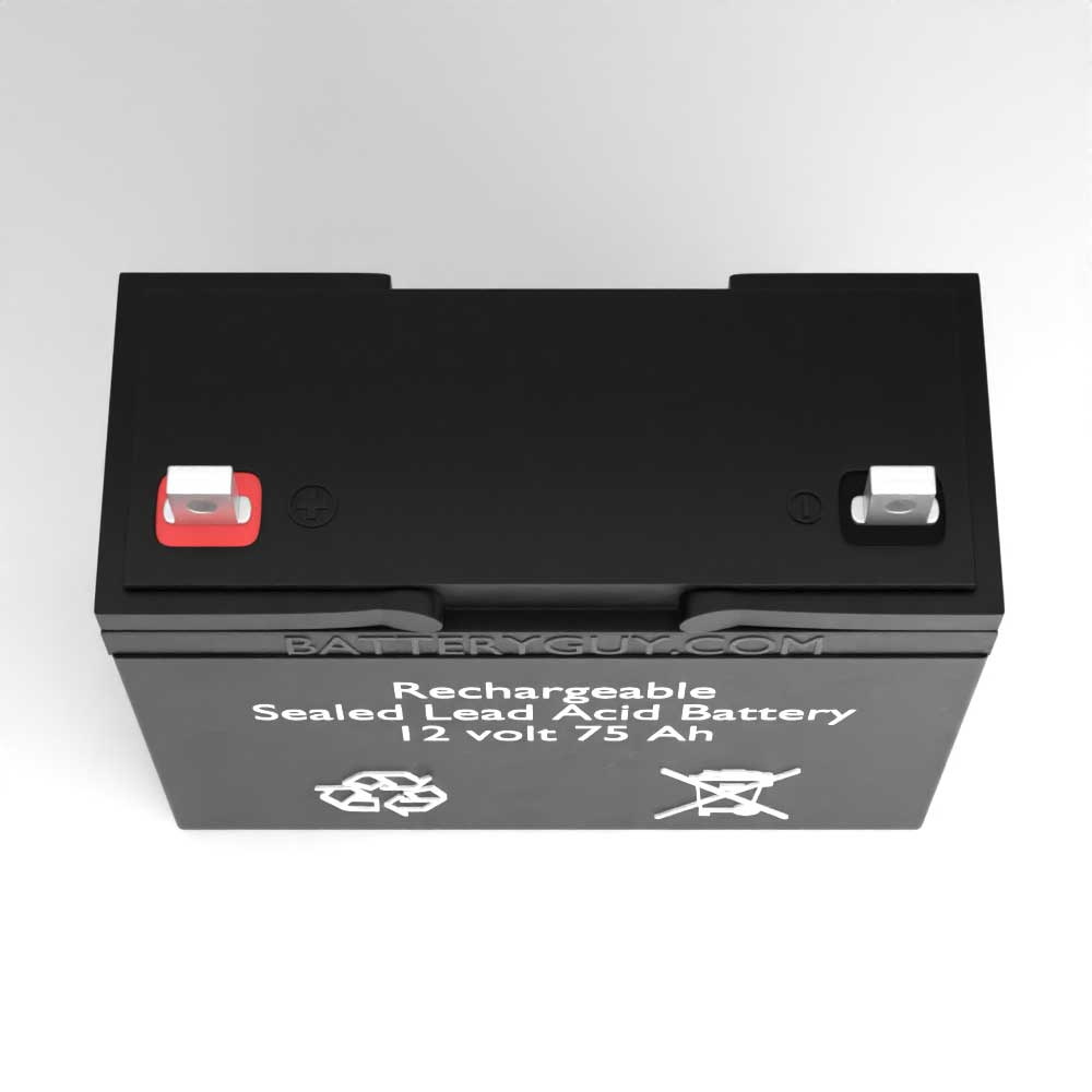 Top View - 12v 75Ah Rechargeable Sealed Lead Acid (Rechargeable SLA) Battery