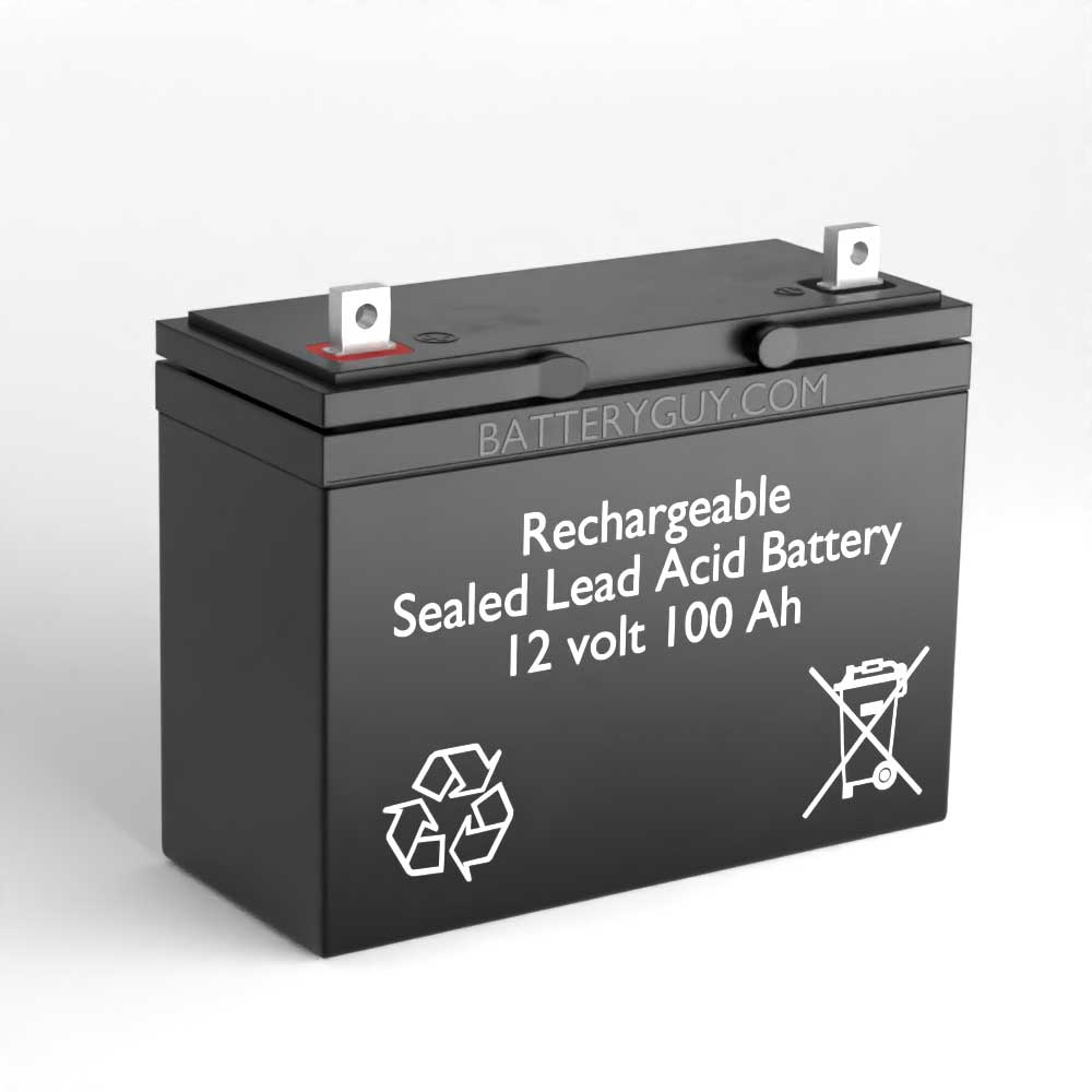 Left View - 12v 100Ah Rechargeable Sealed Lead Acid Battery