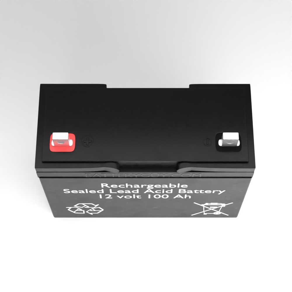 Top View - 12v 100Ah Rechargeable Sealed Lead Acid Battery