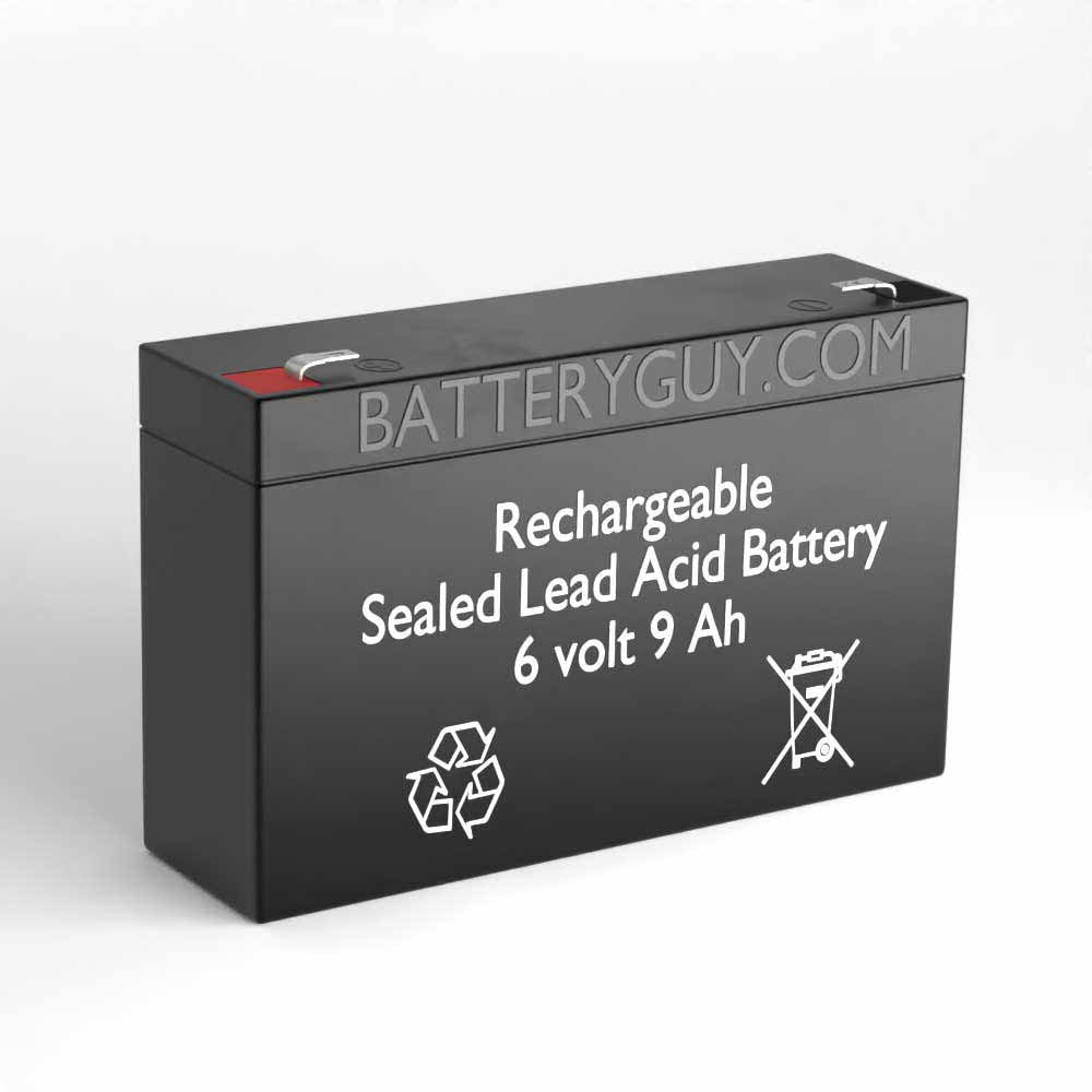 Left View - 6v 9Ah High-Rate Rechargeable Sealed Lead Acid (Rechargeable SLA) Battery