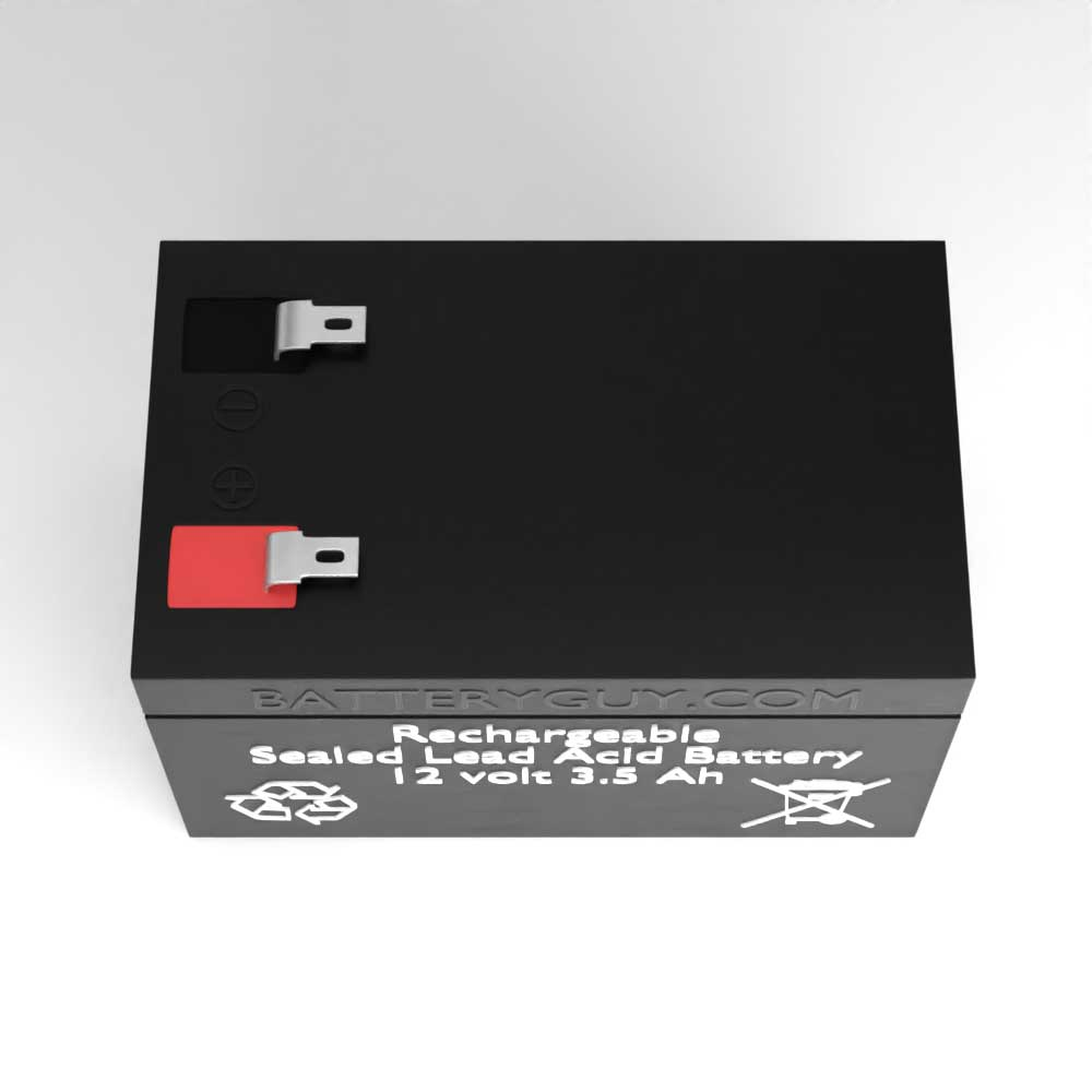 Top View - 12v 3.5Ah High Rate Rechargeable Sealed Lead Acid (Rechargeable SLA) Battery
