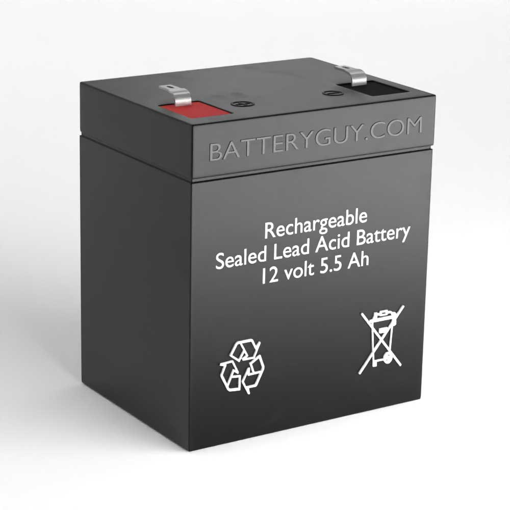 Left View - 12v 5.5Ah Rechargeable Sealed Lead Acid (Rechargeable SLA)