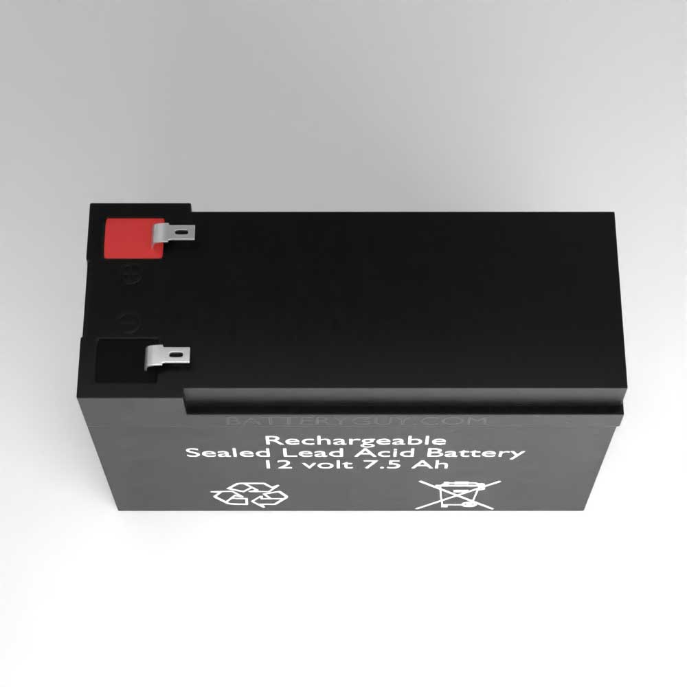 Top View - 12v 7.5Ah Rechargeable Sealed Lead Acid (Rechargeable SLA) Battery