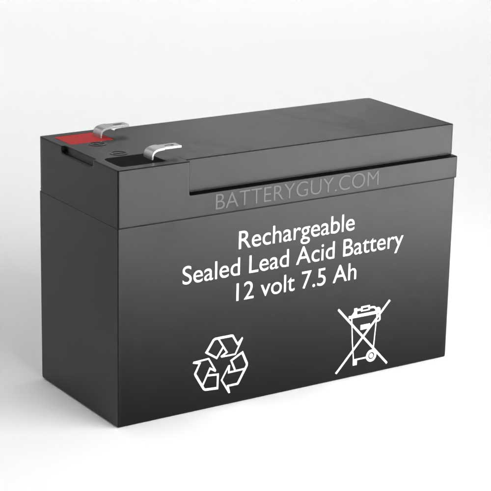 Left View - 12v 7.5Ah Rechargeable Sealed Lead Acid (Rechargeable SLA) Battery