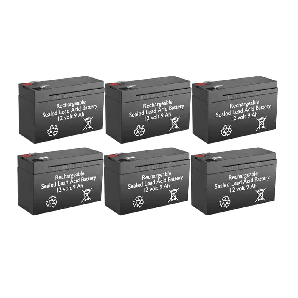 12V 9Ah Rechargeable Sealed Lead Acid High Rate Battery Set of Six