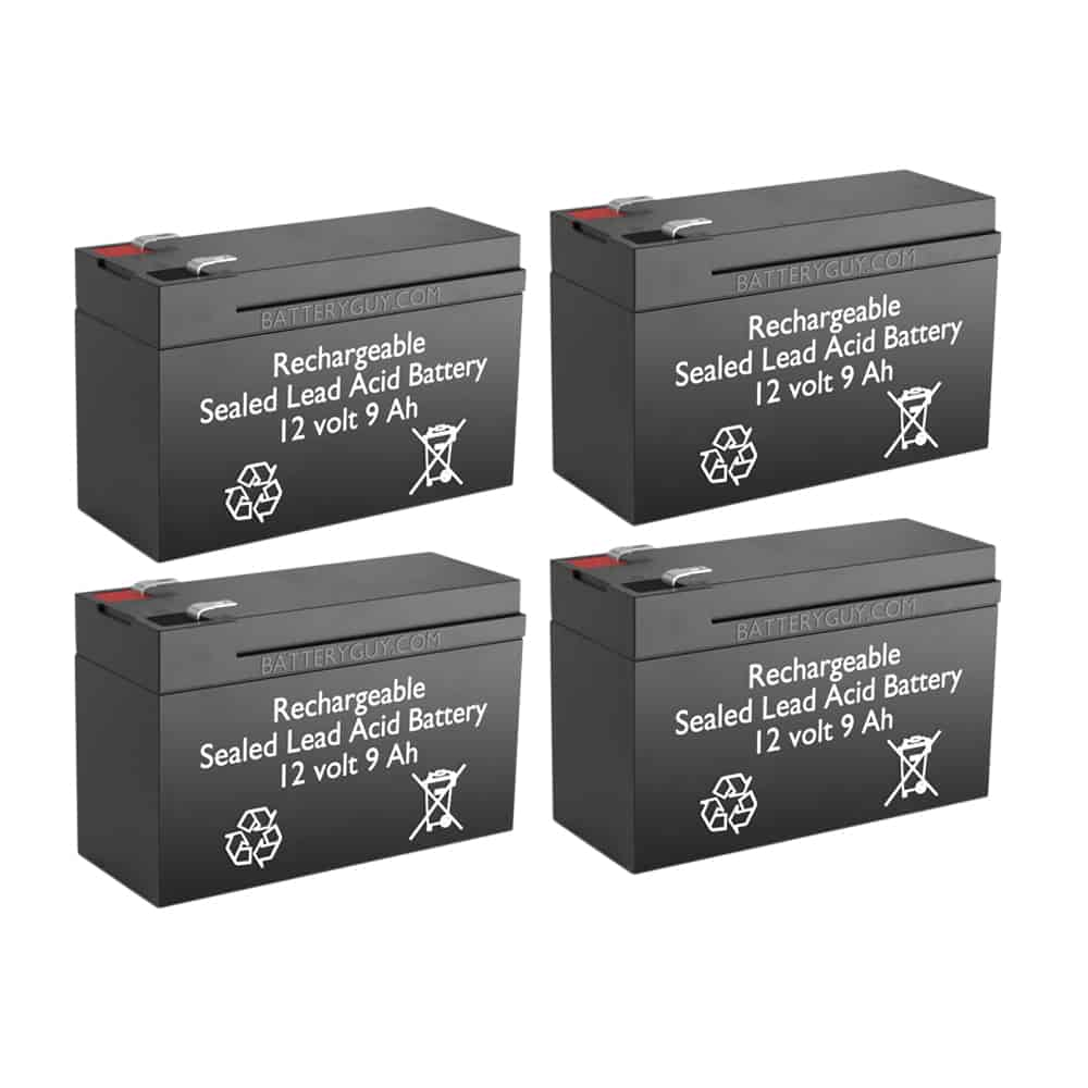 12V 9Ah Rechargeable Sealed Lead Acid High Rate Battery Set of Four