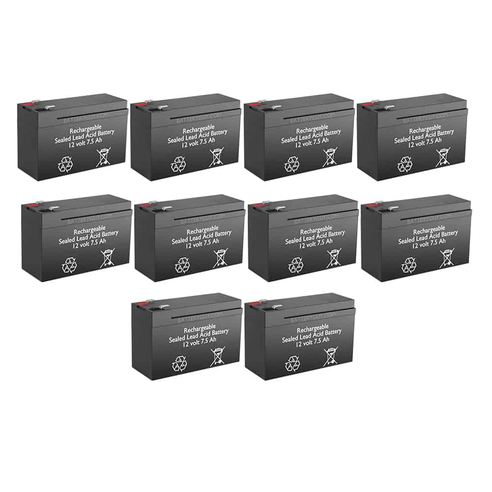 12v 7.5Ah Rechargeable Sealed Lead Acid High Rate Battery Set of Ten