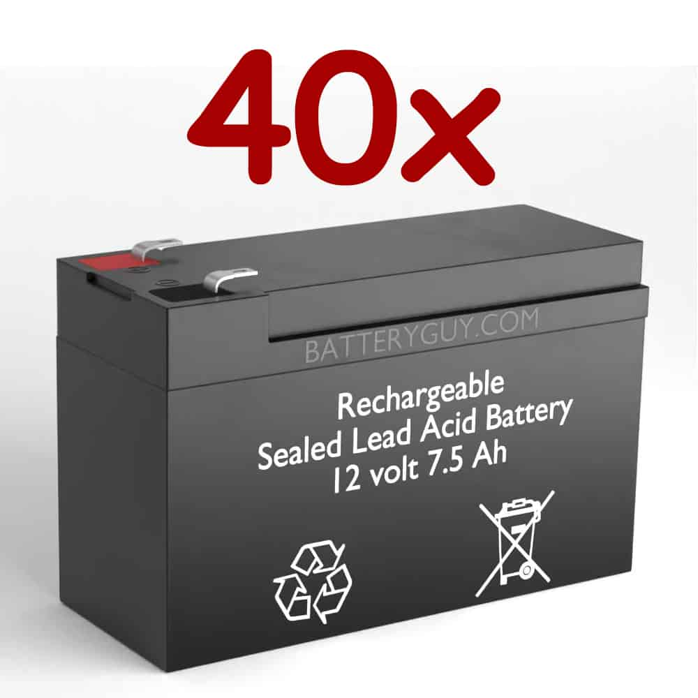12v 7.5Ah Rechargeable Sealed Lead Acid High Rate Battery Set of Fourty