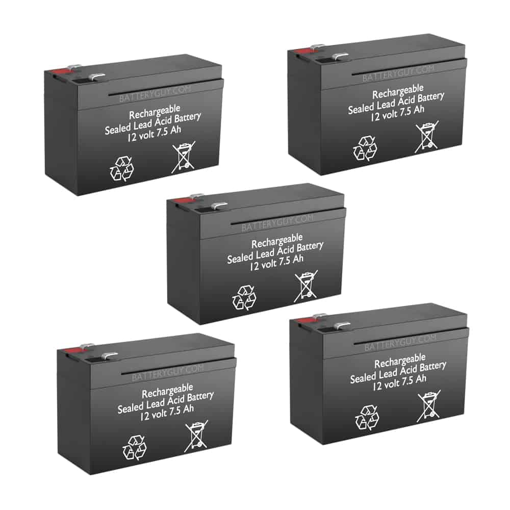 12v 7.5Ah Rechargeable Sealed Lead Acid High Rate Battery Set of Five