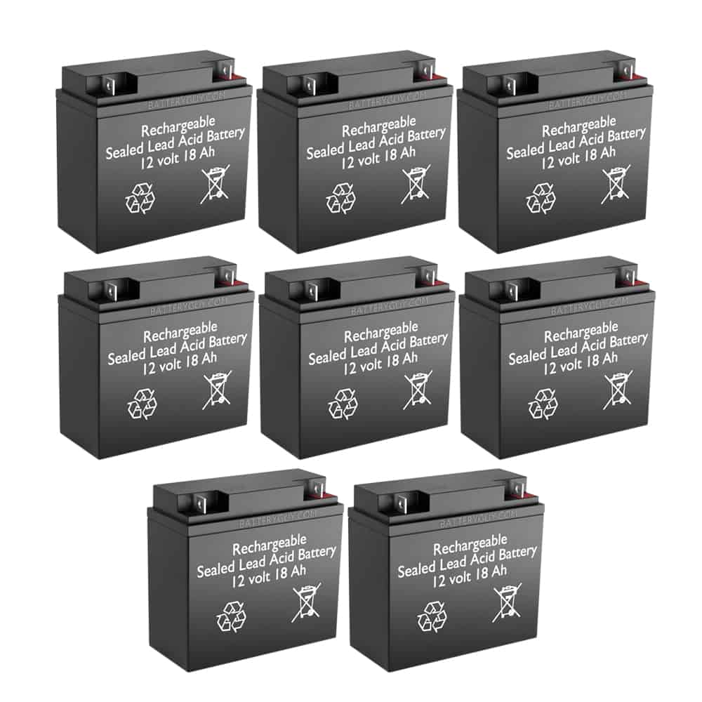 12v 18Ah Rechargeable Sealed Lead Acid High Rate Battery Set of Eight