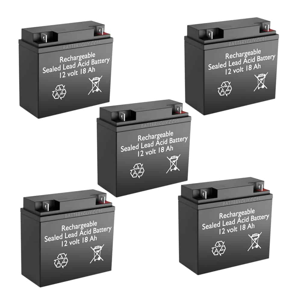 12v 18Ah Rechargeable Sealed Lead Acid High Rate Battery Set of Five