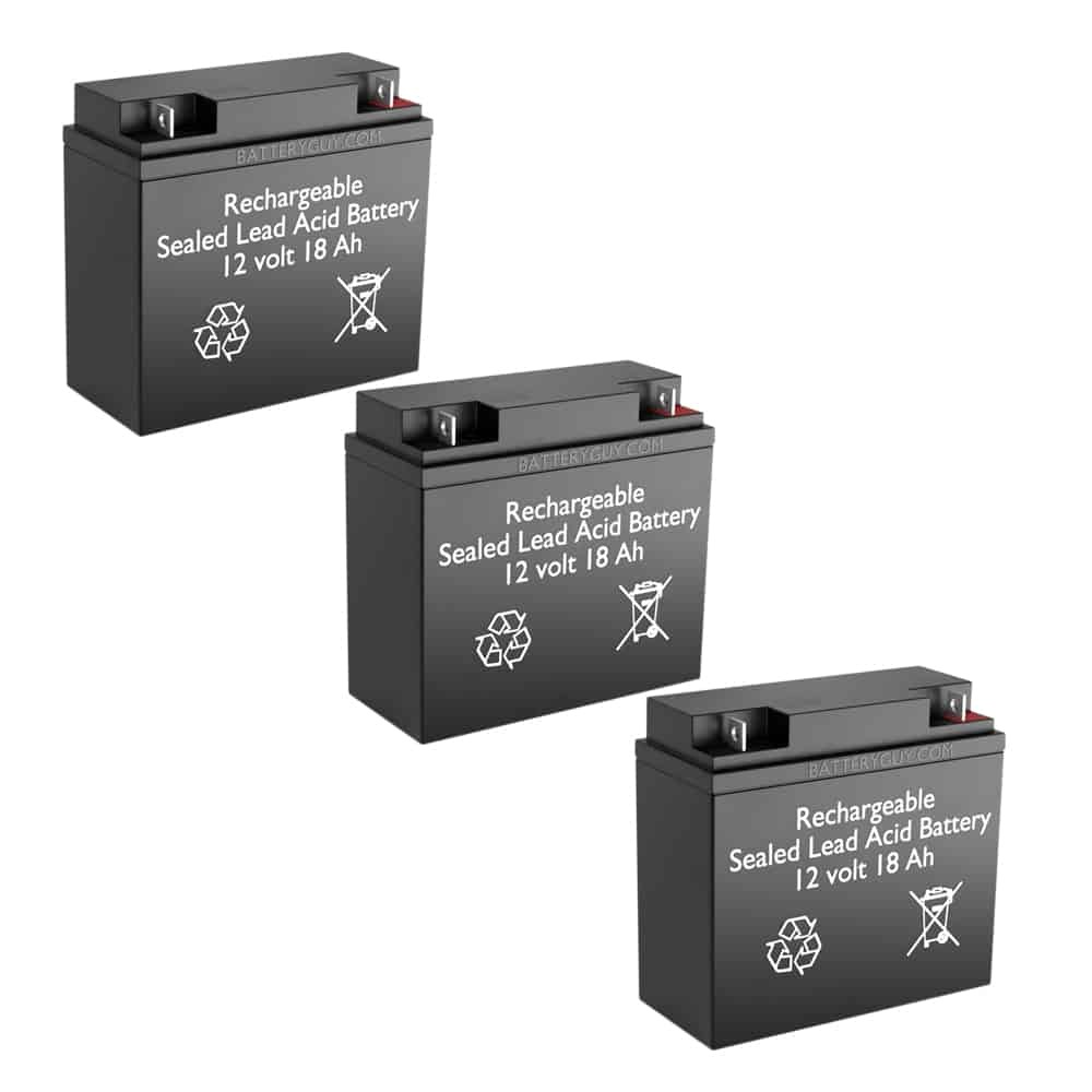 12v 18Ah Rechargeable Sealed Lead Acid High Rate Battery Set of Three