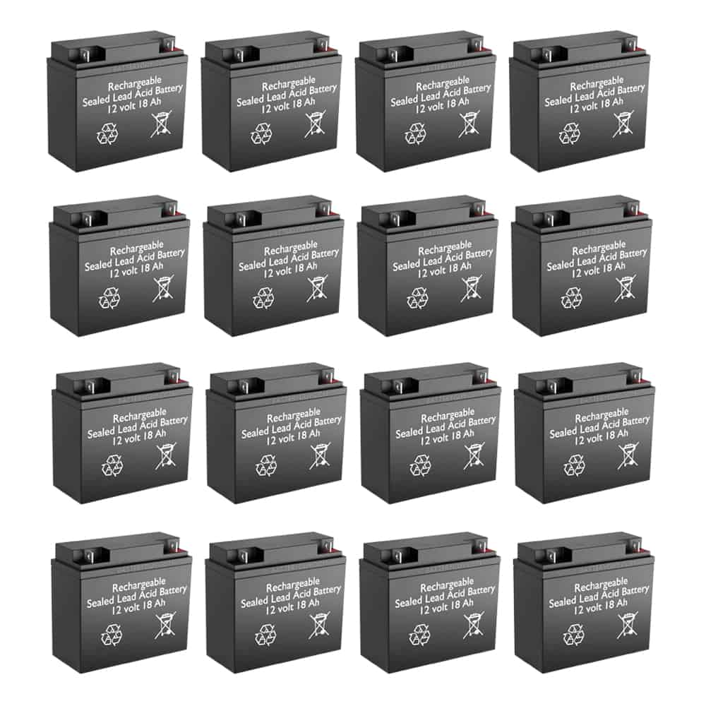 12v 18Ah Rechargeable Sealed Lead Acid High Rate Battery Set of Sixteen