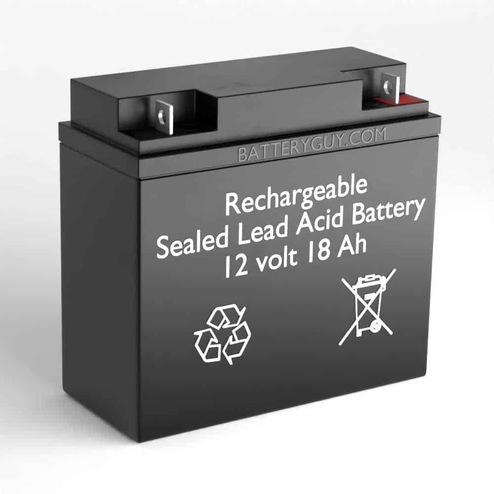 Left View - 12v 18Ah Rechargeable Sealed Lead Acid (Rechargeable SLA) High Rate Battery